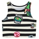 Black White Stripes Avocado Cartoon Cropped Sleeveless T Shirt Cami Tank Top