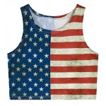 USA Flag Cropped Sleeveless T Shirt Cami Tank Top