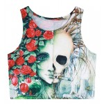 White Skull Red Roses Sleeveless T Shirt Cami Tank Top