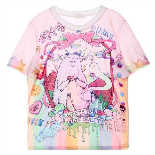 Pink Sweet Rainbow Harajuku Comic Cartoon Short Sleeves T Shirt
