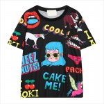 Black White Harajuku Comic Cartoon Short Sleeves T Shirt