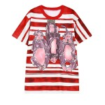 Red White Stripes Three Monkies Harajuku Funky Short Sleeves T Shirt Top