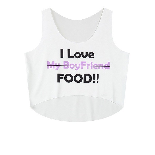 White I Love Food Cropped Sleeveless T Shirt Cami Tank Top