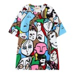 Colorful Abstract Faces Painting Graffiti Harajuku Funky Short Sleeves T Shirt Top
