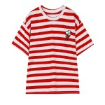 Red Black White Stripes Ice-Cream Embroidery Harajuku Funky Short Sleeves T Shirt Top