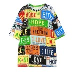 Colorful Car Plates Harajuku Funky Short Sleeves T Shirt Top