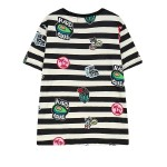 Blue White Stripes Avocado Comic Funky Short Sleeves T Shirt Top