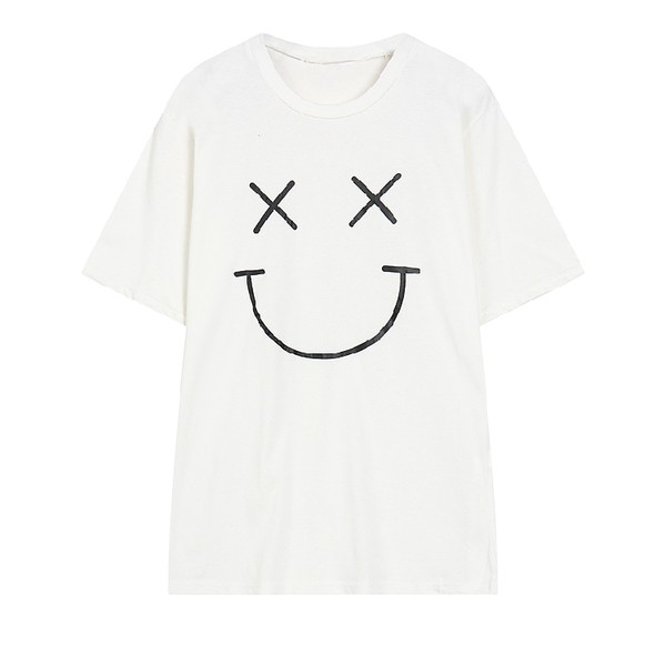 White Black Happy Face Harajuku Funky Short Sleeves T Shirt Top