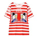 Red Black White Stripes Snow White Cheers Harajuku Funky Short Sleeves T Shirt Top
