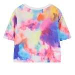 Rainbow Unicorn Galaxy Universe Cropped Short Sleeves T Shirt Top