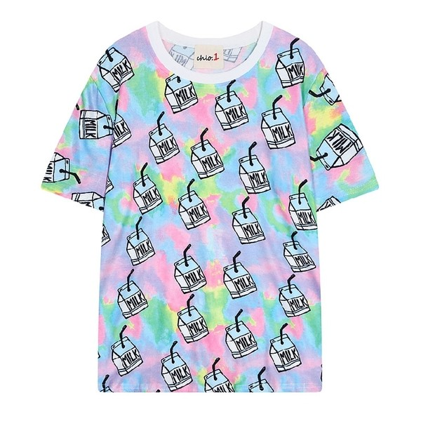 Blue Rainbow Milk Harajuku Funky Short Sleeves T Shirt Top