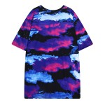 Purple Blue Universe Sky Funky Short Sleeves T Shirt Top