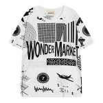 Blue White Wonder Market Comic Funky Short Sleeves T Shirt Top