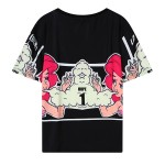 Black Pink Girl Smoke Harajuku Funky Short Sleeves T Shirt