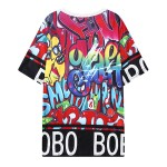 Red Colorful Graffiti Harajuku Funky Short Sleeves T Shirt Top