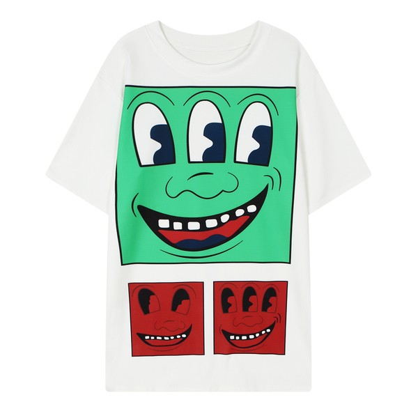 White Green Red Three Eyes Happy Faces Harajuku Funky Short Sleeves T Shirt Top