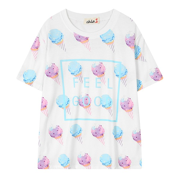 White Blue Rainbow Ice-cream Feel Good Harajuku Funky Short Sleeves T Shirt Top