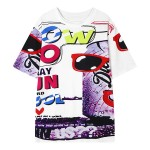 White Sunglasses WOW Harajuku Funky Short Sleeves T Shirt Top