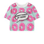 Blue Pink Donut Touch My Phone Cropped Funky Short Sleeves T Shirt Top