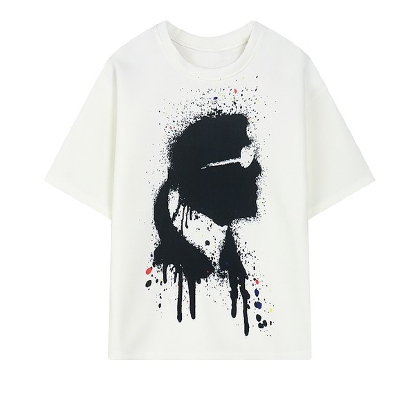 White Karl Splash Ink Protrait Funky Short Sleeves T Shirt Top