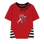 Red Black White Stripes Believe Me Embroidery Harajuku Funky Short Sleeves T Shirt Top