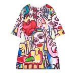White Colorful Abstract Painting Graffiti Harajuku Funky Short Sleeves T Shirt Top