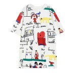 White French Cartoon Comic Harajuku Funky Short Sleeves T Shirt Top