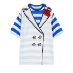 Black Blue Stripes Tuxedo Harajuku Funky Short Sleeves T Shirt