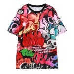 Red Wall Graffiti Harajuku Funky Short Sleeves T Shirt Top