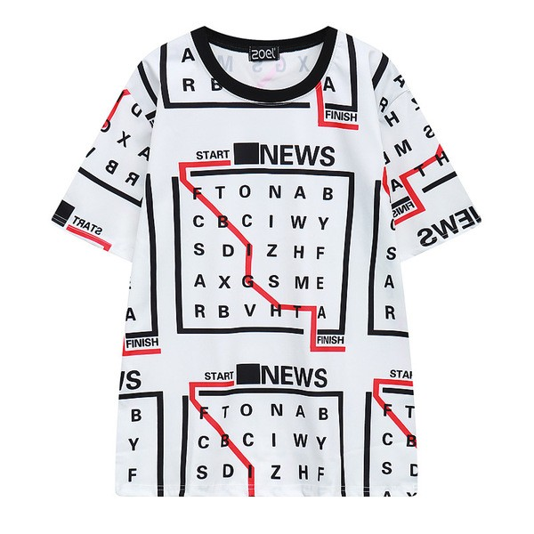 White Start Stop Crossword Puzzle Harajuku Funky Short Sleeves T Shirt Top