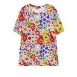 Red Colorful Happy Flowers Harajuku Funky Short Sleeves T Shirt Top