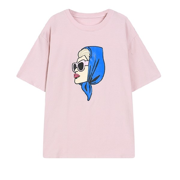 Pink Grey White Black Woman Blue Scarf Sunglasses Short Sleeves T Shirt Top
