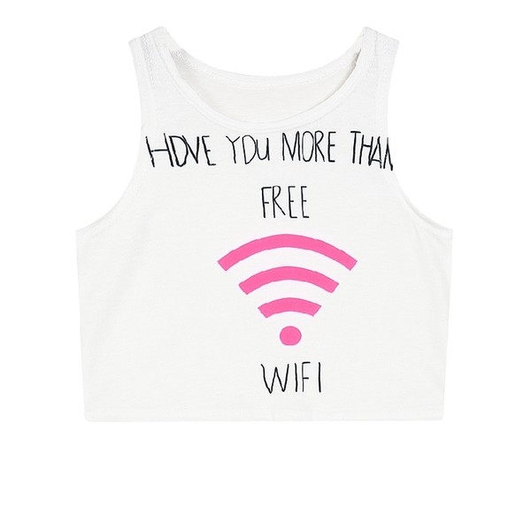 White Wifi Signal Sleeveless T Shirt Cami Tank Top