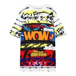 White WOW Sparkle Spikes Comic Harajuku Funky Short Sleeves T Shirt Top