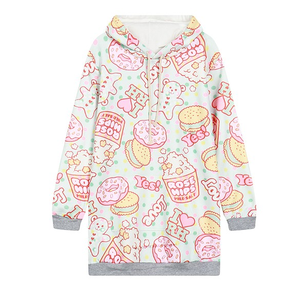 Blue Donuts Cartoon Harajuku Funky Long Sleeve Fleece Sweatshirts Hoodie Hooded Tops