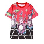 Red Black Three Monkies Harajuku Funky Short Sleeves T Shirt Top