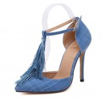 Blue Denim Tassels Point Head High Stiletto Heels Pump Shoes