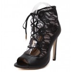 Black Sexy Lace Peep Toe Gladiator Strappy Pumps Lace Up High Stiletto Heels Shoes