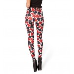 Black Red Deck of Cards Print Yoga Fitness Leggings Tights Pants