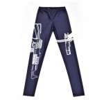 Navy Blue White Gun Print Yoga Fitness Leggings Tights Pants