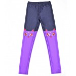 Navy Blue Purple Moon Cat Cartoon Print Yoga Fitness Leggings Tights Pants