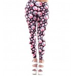Black Pink Skulls Cartoon Print Yoga Fitness Leggings Tights Pants