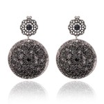 Silver Vintage Diamante Round Fancy Bohemian Ethnic Earrings Ear Drops
