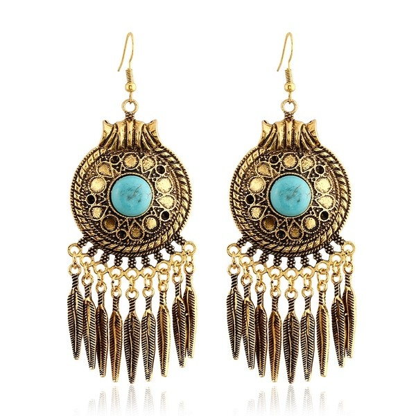 Bronze Silver Metal Tassels Blue Bohemian Earrings Ear Drops
