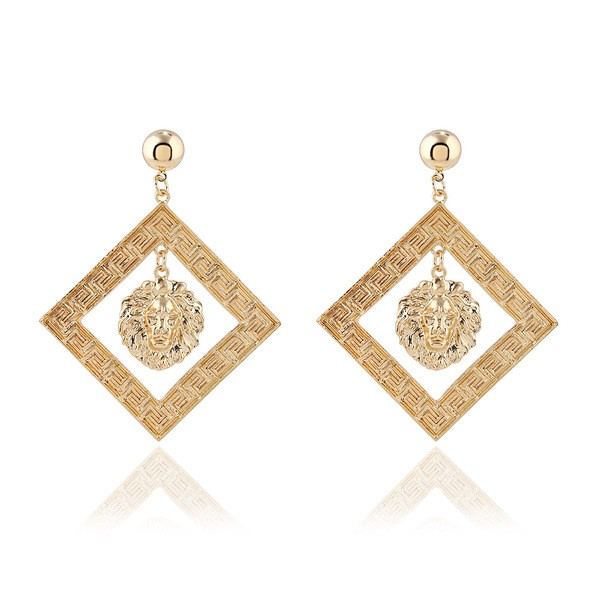 Gold Metal Medusa Square Earrings Ear Drops