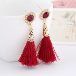 Red Gemstone Gold Bohemian Boho Enthic Glamourous Tassel Earrings Ear Drops
