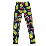 Navy Blue Pineapples Watermelons Print Yoga Fitness Leggings Tights Pants