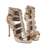 Gold Metallic Hollow Out Laser Cut Outs Gladiator Pumps Party Wedding High Stiletto Heels Shoes