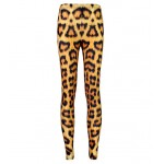 Brown Yellow Leopard Animal Print Yoga Fitness Leggings Tights Pants
