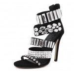 Black Suede Rhinestiones Gladiator High Stiletto Heels Pumps Sandals Shoes